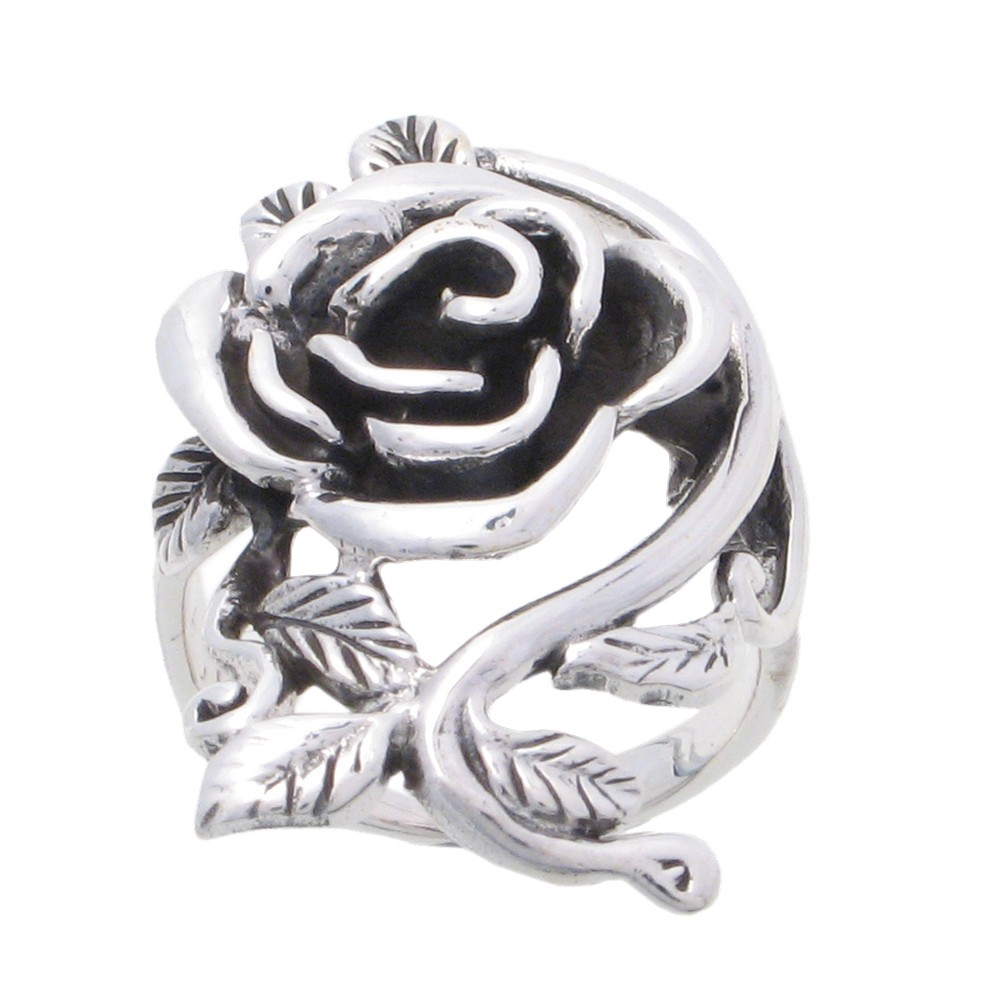Women's Sterling Silver Rose Ring (11), Size: 11.0