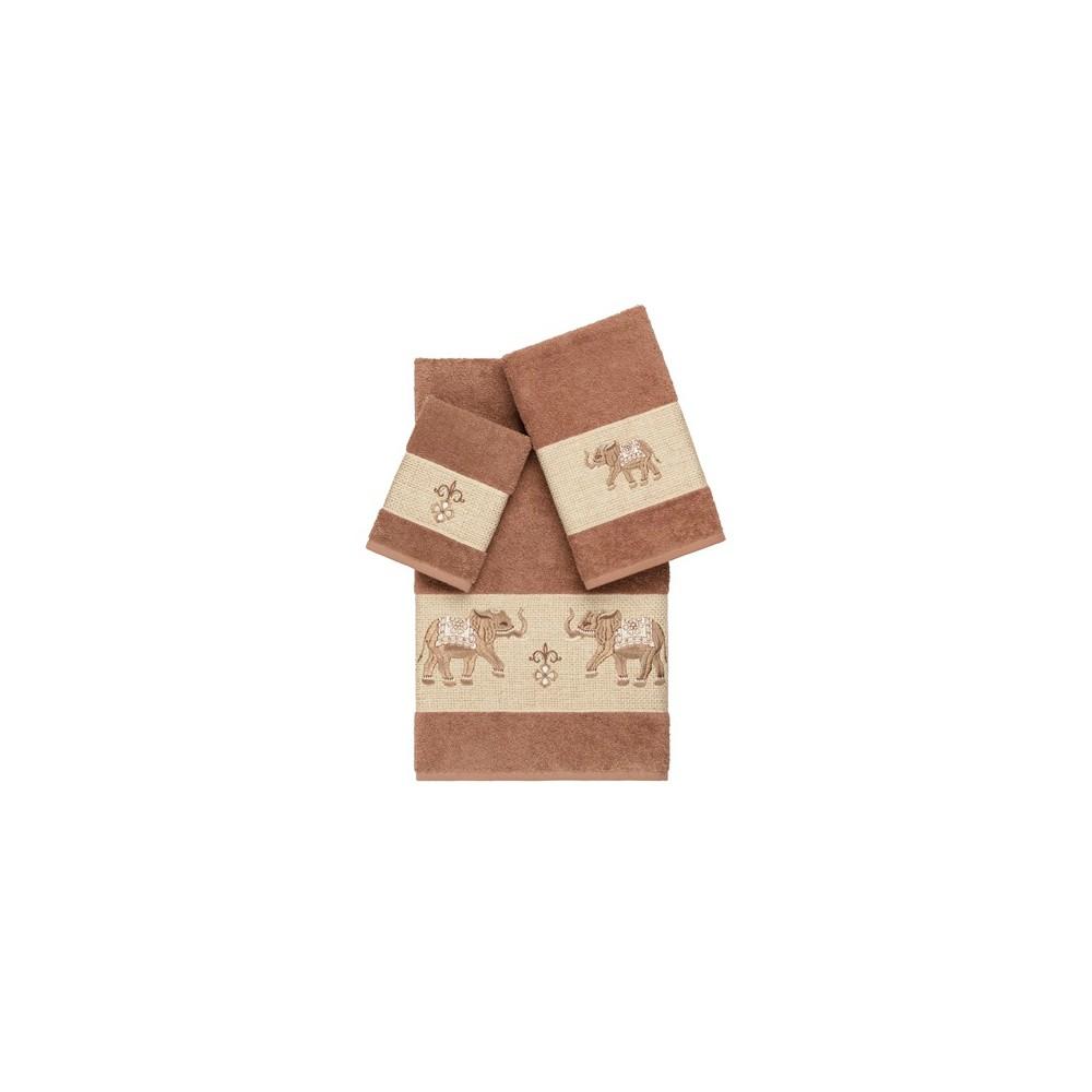 Quinn Embellished Bath Towel Set Light Brown - Linum Home Textiles