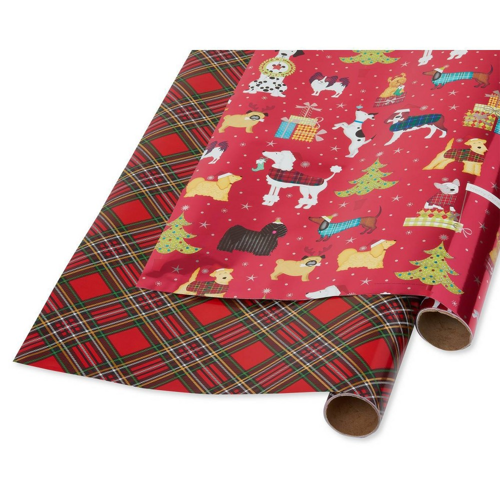 Image of 2ct Papyrus Holiday Chic and Santa's Best Friends Dog Gift Wrap, Red