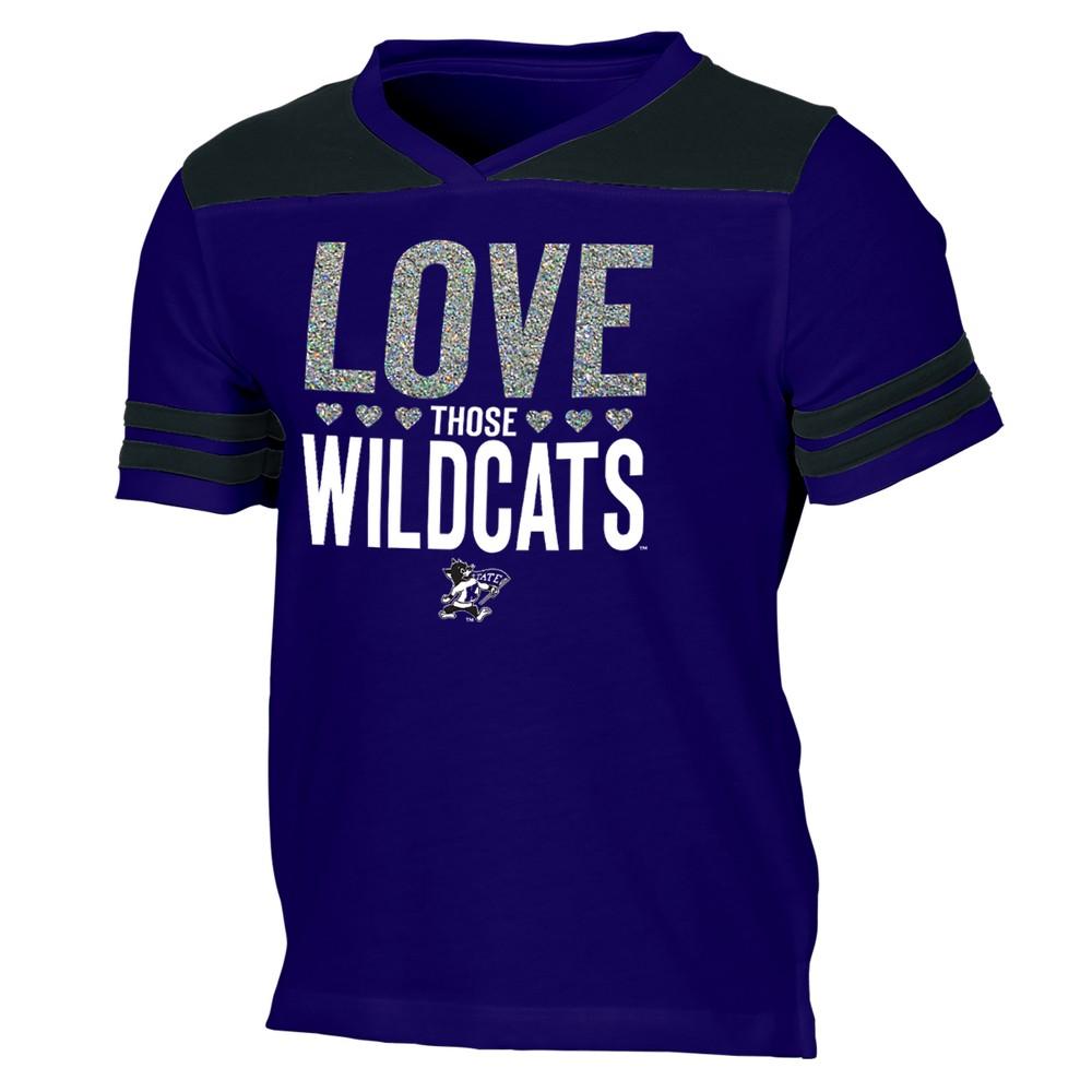 Kansas State Wildcats Girls' Short Sleeve Team Love V-Neck T-Shirt L, Multicolored