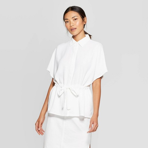Women's Short Sleeve Front-Button-Down Blouse - Prologue™ - image 1 of 3
