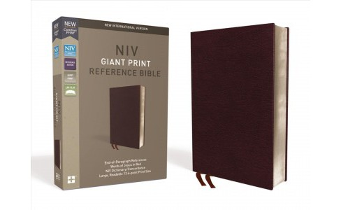 Holy Bible : New International Version, Burgundy, Bonded Leather, Giant Print, Reference -  (Paperback) - image 1 of 1