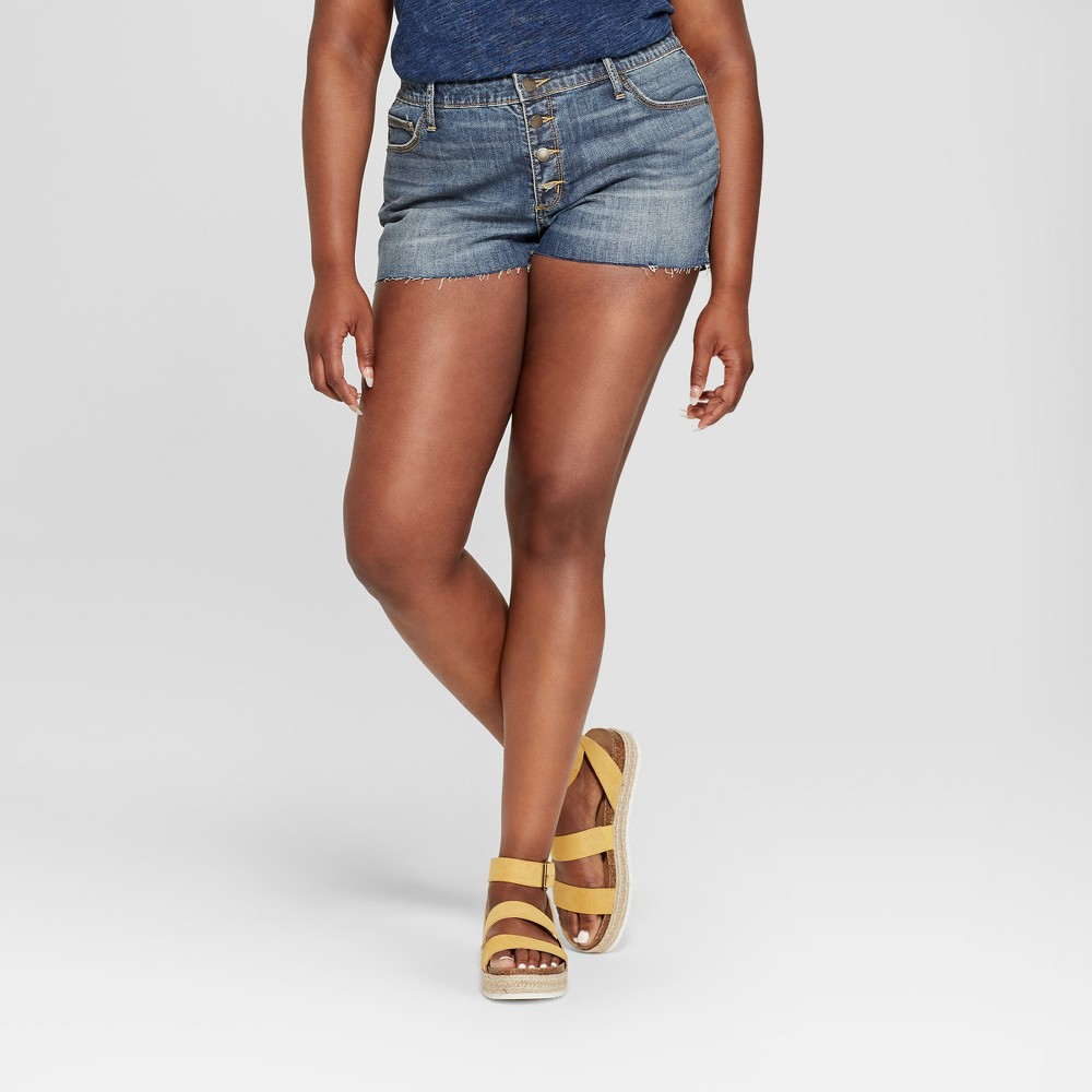Women's Plus Size Raw Hem Jean Shorts - Universal Thread Dark Wash 16W, Blue