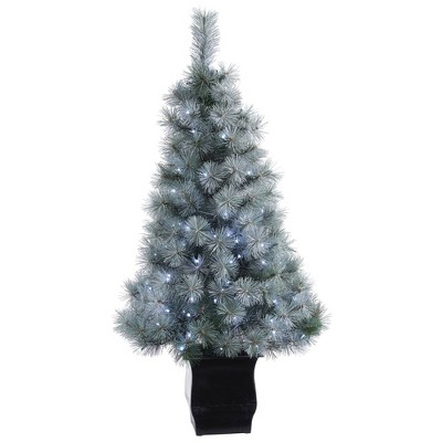 4ft Nearly Natural Pre-Lit LED Snowy Mountain Pine Artificial Christmas Tree Clear Lights in Decorative Planter