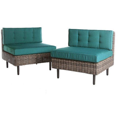 Aimee 2pk All-Weather Wicker Patio Armless Chairs - Spectrum Peacock - AE Outdoor - image 1 of 2
