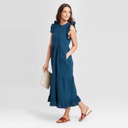 Women's Sleeveless Tiered Ruffle Dress - Universal Thread™ - image 1 of 3