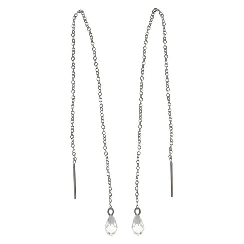 Women's Tressa Collection Sterling Silver Pear Cut Cubic Zirconia Bead Set Dangle Earrings - image 1 of 1
