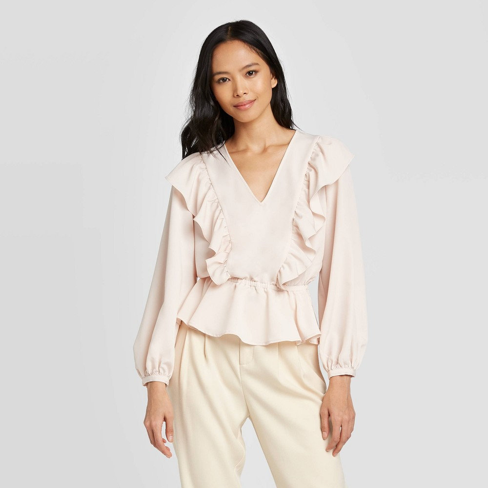 Women's Long Sleeve Ruffle Blouse - Who What Wear Peach XXL, Pink was $27.99 now $19.59 (30.0% off)