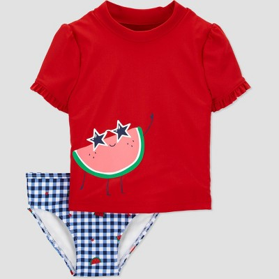 Toddler Girls' Watermelon Short Sleeve Rash Guard Set - Just One You® made by carter's Red/Blue