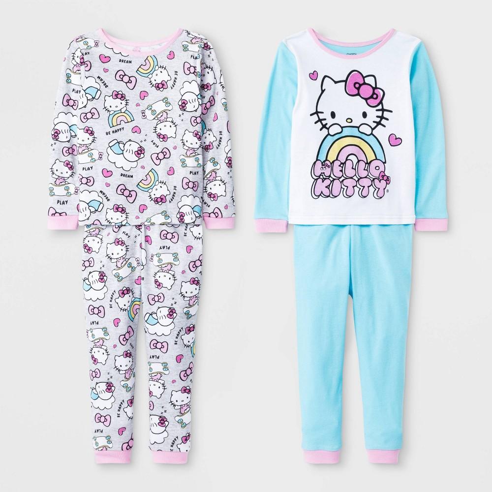 Image of Toddler Girls' 4pc Hello Kitty Pajama Set - Blue 2T, Girl's