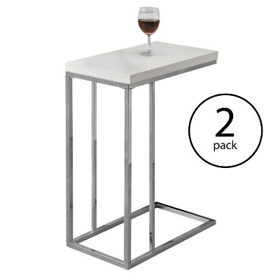 Monarch Specialties Contemporary Accent Rectangular Side Table, White (2 Pack)