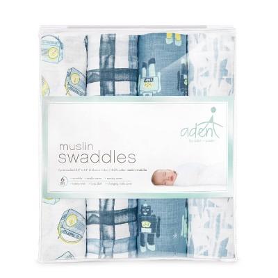 aden by aden + anais Muslin Swaddles 4pk - Retro - Blue