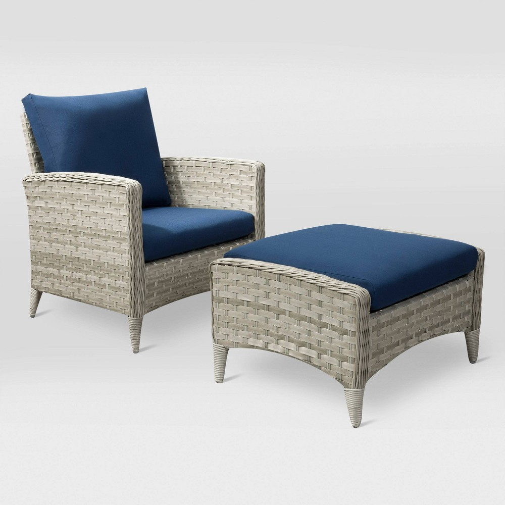 Parkview 2pc Chair and Stool Patio Set - Navy (Blue) - CorLiving
