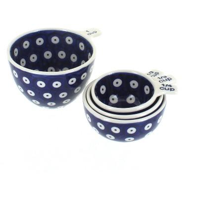 Blue Rose Polish Pottery Dots Measuring Cup Set