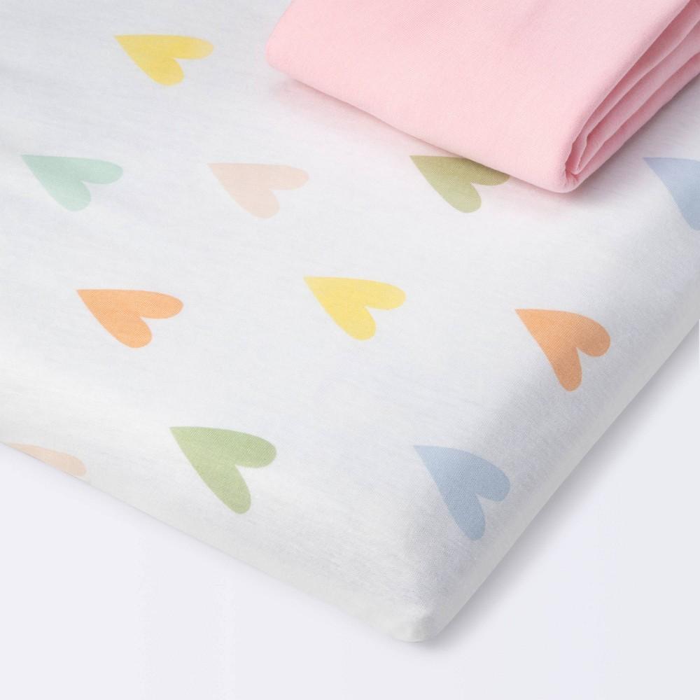 Fitted Playard Jersey Sheet Cloud Island 8482 Hearts Pink 2pk