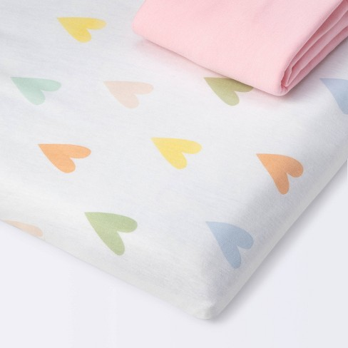 Fitted Playard Jersey Sheet - Cloud Island™ Hearts/Pink 2pk - image 1 of 4