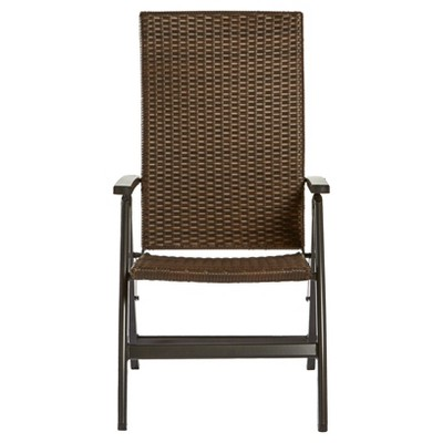 Hand Woven Pe Wicker Outdoor Reclining Chair   Brown   Greendale Home  Fashions