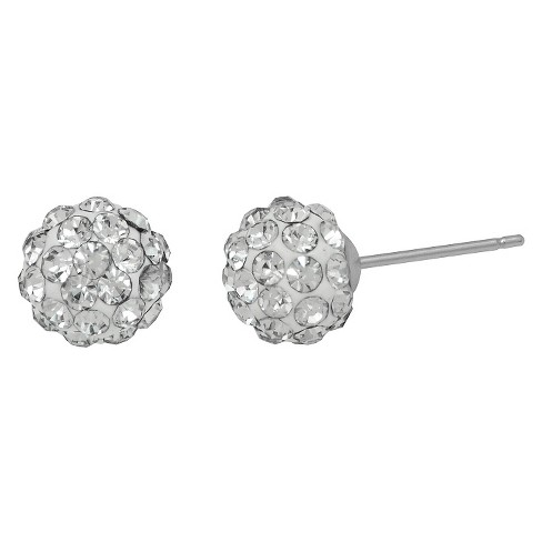 Girls' Sterling Silver Ball Stud with Crystal-5Mm-Clear - image 1 of 1