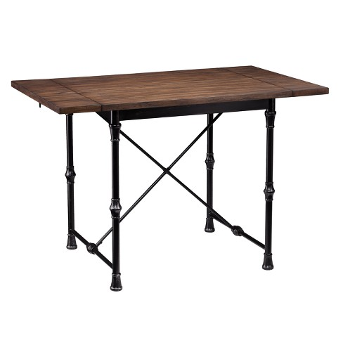 Bane Industrial Drop Leaf Dining Table Brown - Aiden Lane - image 1 of 4