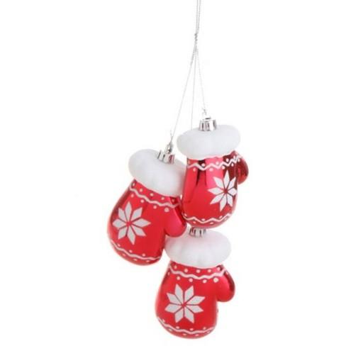 Raz Imports 6 Alpine Chic Trio Of Bright Red Snowflake Mittens