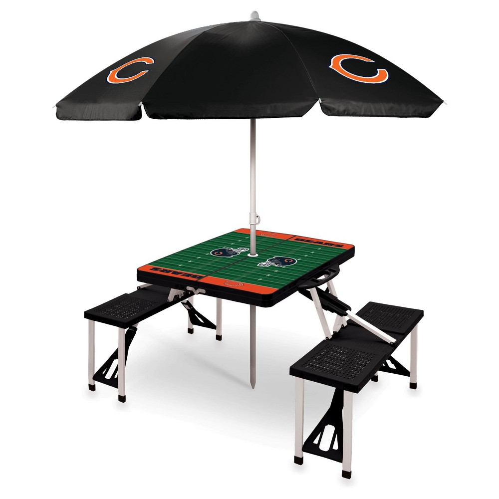 Chicago Bears Picnic Table Sport with Umbrella by Picnic Time - Black