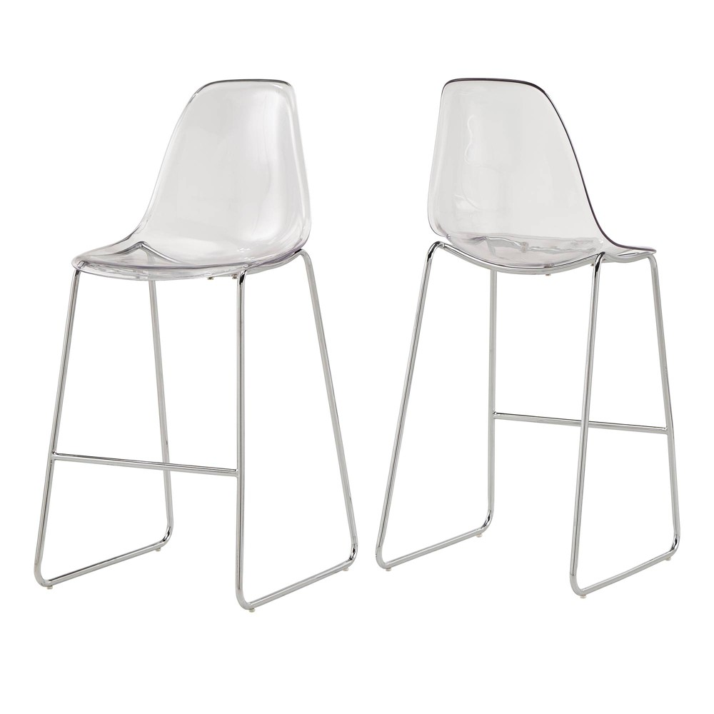 29 Set of 2 Neil Clear Acrylic Metal Barstool Clear - Inspire Q
