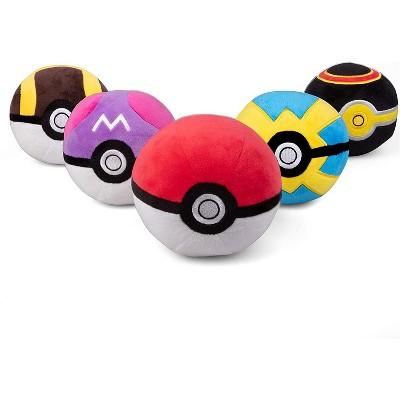 "Jazwares Pokemon Pokeball Plush Toys - Includes Poke, Master, Ultra, Quick, & Luxury Ball - 4"", Set of 5"