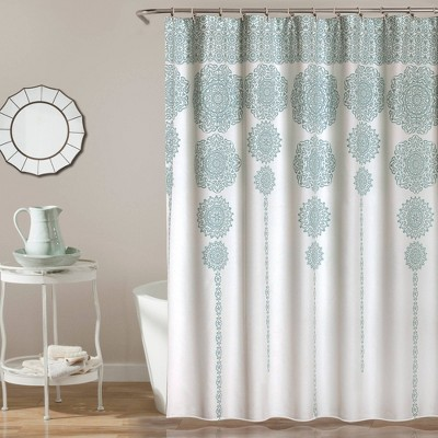 Stripe Medallion Shower Curtain Blue - Lush Decor