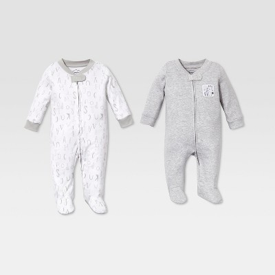 Lamaze Baby's Organic Cotton 2pk Sleep 'N Play - Gray 9M