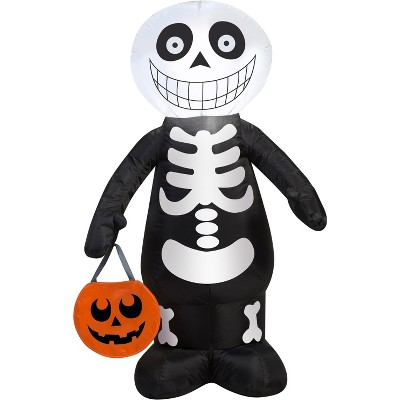 Gemmy Airblown Skeleton Boy, 3.5 ft Tall, Multicolored