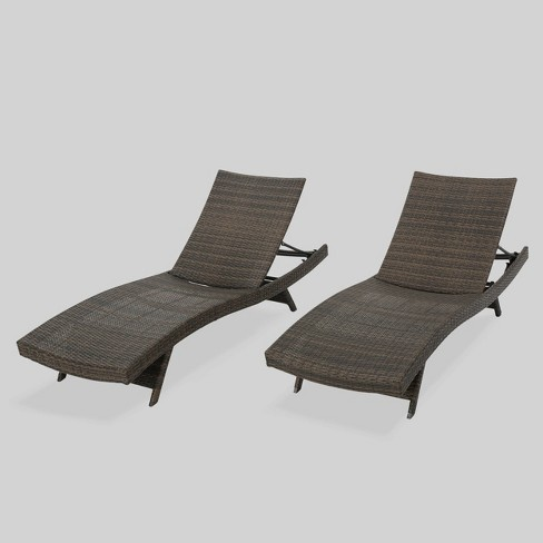 Thira 2pk Wicker Chaise Lounge Brown - Christopher Knight Home - image 1 of 4