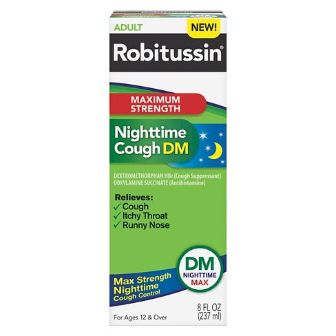 Robitussin Maximum Strength Nighttime Cough Syrup - Dextromethorphan - 8 fl oz - image 1 of 1