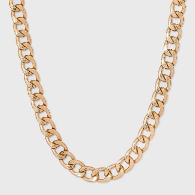 Worn Gold Curb Chain Necklace - Universal Thread™ Gold