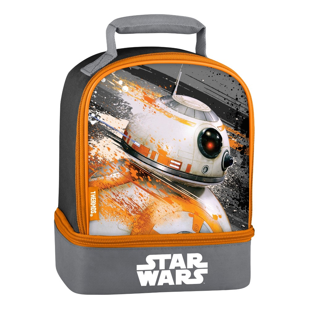 Thermos BB-8 Star Wars Dual Lunch Box - Black, Gray This dual compartment lunch kit from Geniune Thermos Brand is a great choice for kids to take their lunch to school. Decorated with bright colors and bold graphics, this lunch kit features a comfortable, padded carrying handle and premium foam insulation to keep lunches cooler and fresher. The dual compartment design allows for storing items separately to help avoid crushing lunches Color: Gray. Pattern: Superheroes.