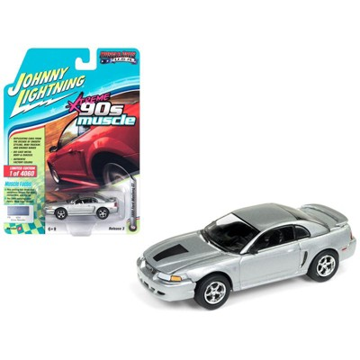 """1999 Ford Mustang GT Silver """"90's Muscle"""" Limited Edition to 4,060 pieces 1/64 Diecast Model Car by Johnny Lightning"""
