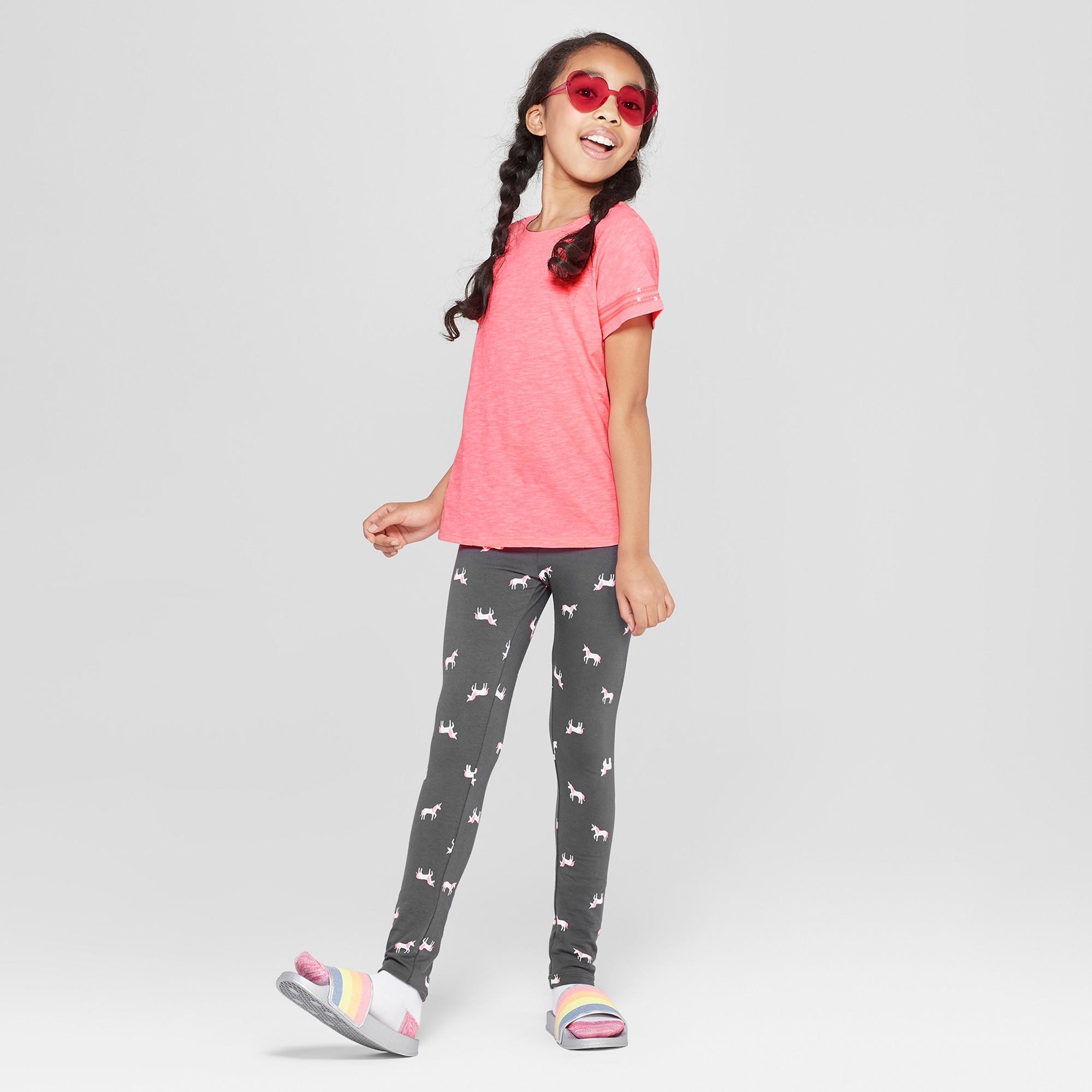 Girls' Short Sleeve Sequin Striped T-Shirt - Cat & Jack Coral L, Pink
