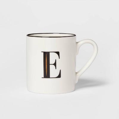 16oz Stoneware Monogram E Mug White - Threshold™