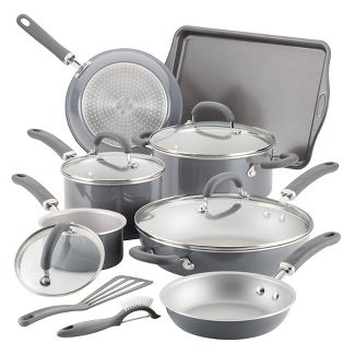 Rachael Ray Create Delicious 13pc Aluminum Nonstick Cookware Set Gray