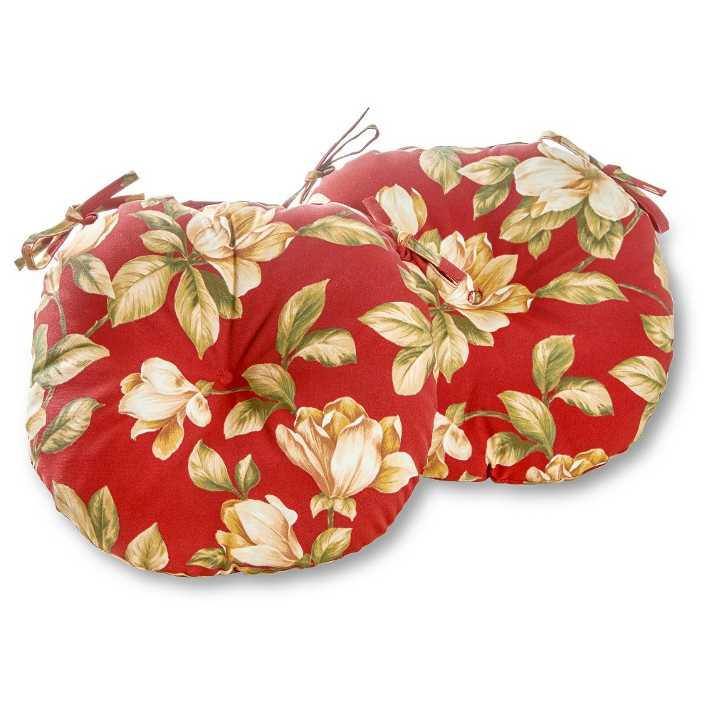 Set Of Two 15 Roma Floral Outdoor Bistro Chair Cushions