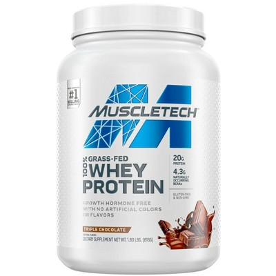 MuscleTech Grass Fed 100% Whey Protein Powder - Triple Chocolate - 1.8lbs
