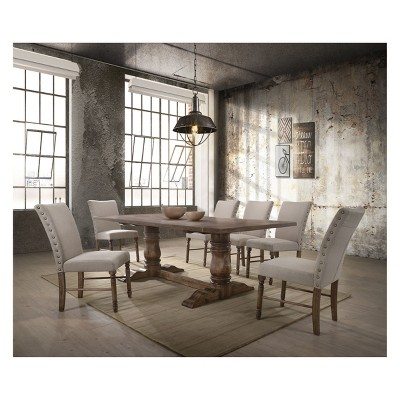 Acme Furniture Set Of 2 Leventis Side Chair Cream/Oak Brown