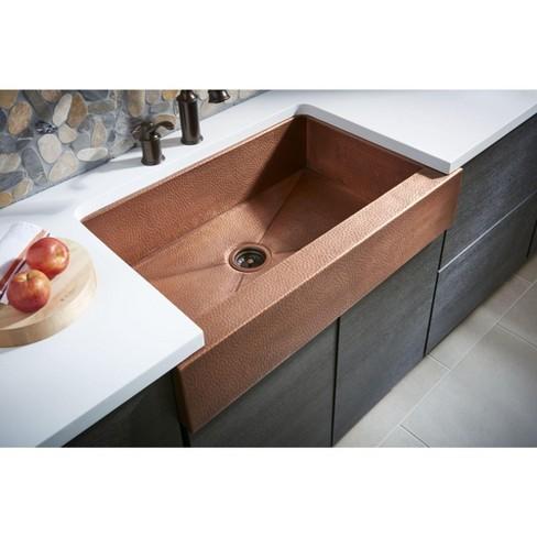 Thompson Traders Ksar 3322ha Haven 34 Single Basin Farmhouse Drop In Or Undermount Copper Kitchen Sink