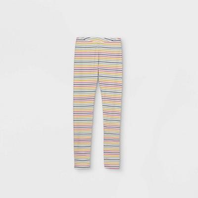 Girls' Striped Leggings - Cat & Jack™ Cream