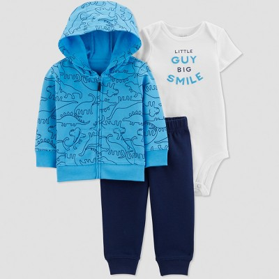 Baby Boys' 3pc  Dino  Short Sleeve Cotton Cardigan Set - Just One You® made by carter's Blue/White Newborn