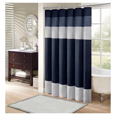 Salem Polyester Shower Curtain - Navy