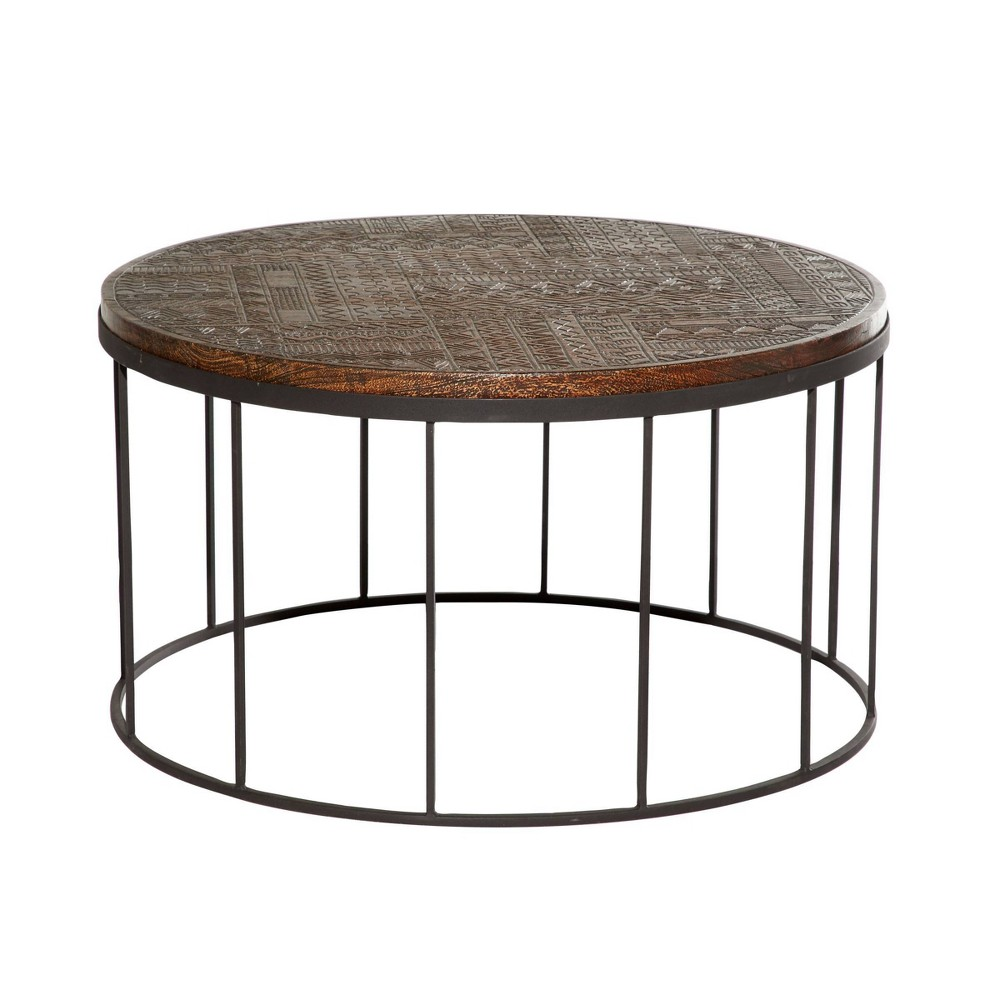 Large Contemporary Mango Wood And Metal Coffee Table Brown Venus Williams Collection