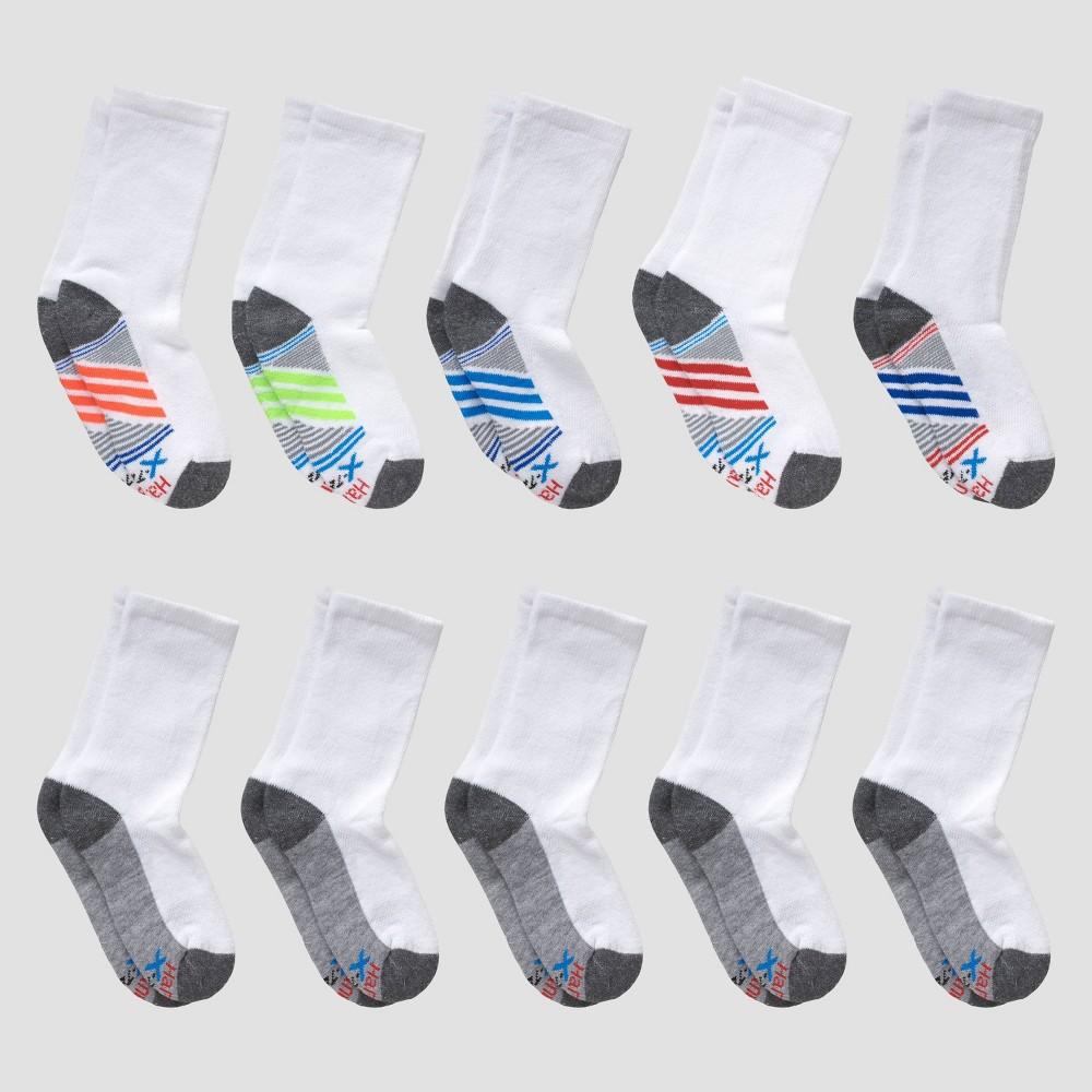 Hanes Boys 39 10pk Premium Crew Socks White M