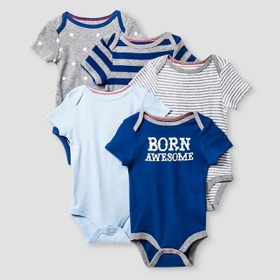 Baby Boys' Short Sleeve 5 Pack Bodysuit Cat & Jack™ - Navy/Heather Gray 0-3M