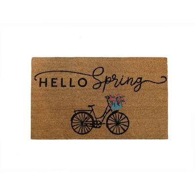 "Farmhouse Living Hello Spring Bike Coir Doormat - 18"" x 30"" - Natural - Elrene Home Fashions"
