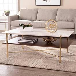 Amelia Rectangular Cocktail Table with Storage Brass - Aiden Lane